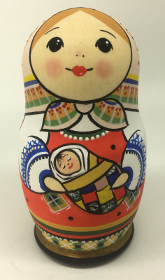 5 pcs Russian Family hand painted small Matryoshka Doll (by Sergey Carved Wooden Dolls Studio)