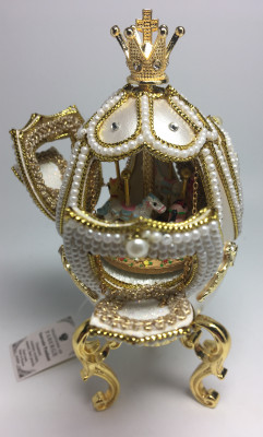 140 mm Carousel Goose Egg Faberge Egg with Pearl decorations (by AKM Gifts)