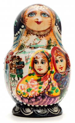 110mm Two Girls hand painted Matryoshka doll 5pcs