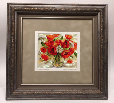 380x380mm Poppies Bouquet hand painted on mother of pearl