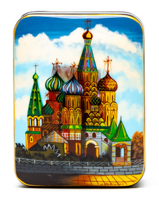 60x80mm Saint Basil Cathedral hand painted lacquered jewelery box (by Tatiana Arts)