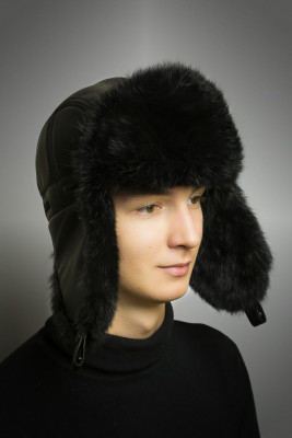 Black Rabbit Hair Hat with Ear flaps and Leather top (by Boris Furs)