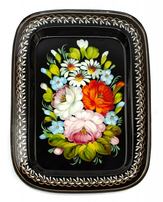 195x265 mm Zhostovo Patterns hand painted and lacquered Metal Forged Black Tray (by Lada Crafts)
