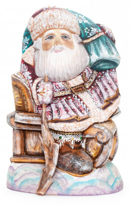200 mm Santa with a Bag riding the Sleighs Carved Wood Hand Painted Collectible Figurine  (by Natalia Nikitina Workshop)