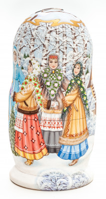 180 mm Russian Christmas Round Dancing hand painted by Mikhail Sokolov wooden Matryoshka doll 5 pcs inside (by Nikitina)