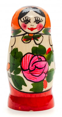 70 mm Orange Head Semenovskaya handpainted wooden Russian Matryoshka Doll 3 pcs (by Ivan Studio)