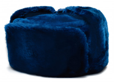 Russian Fur Ushanka Winter Hat (blue, any size)