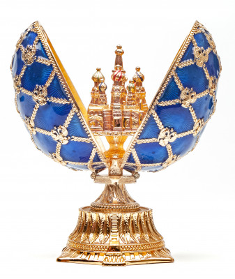 115 mm The Saint Basil Cathedral Blue Easter Egg with the Figure inside