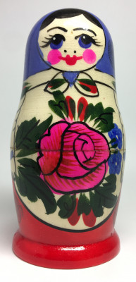 105 mm Blue Head Semenovskaya handpainted wooden Matryoshka Doll 5 pcs (by Ivan Studio)