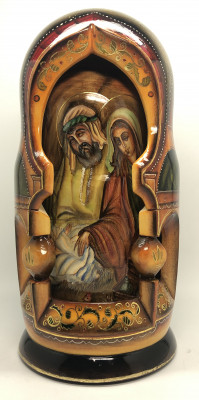 270 mm Russian Orthodox Icon hand painted on carved wooden Matryoshka doll 10 pcs (by Konstantin Studio)