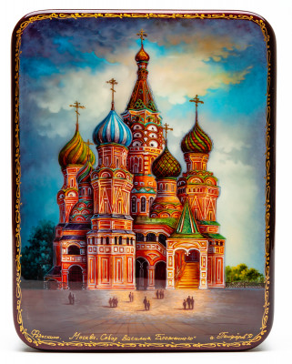 130x170mm Saint Basil Cathedral hand painted lacquered jewelery box (by Panferoff Studio)