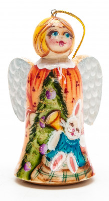 70 mm Angel with Rabbit hand painted wooden Figurine