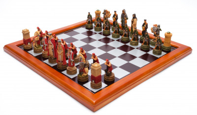 395x395 mm Roman and Celtic Troops handpainted figures on wooden Chess Board (by Fyodor Chess Studio)