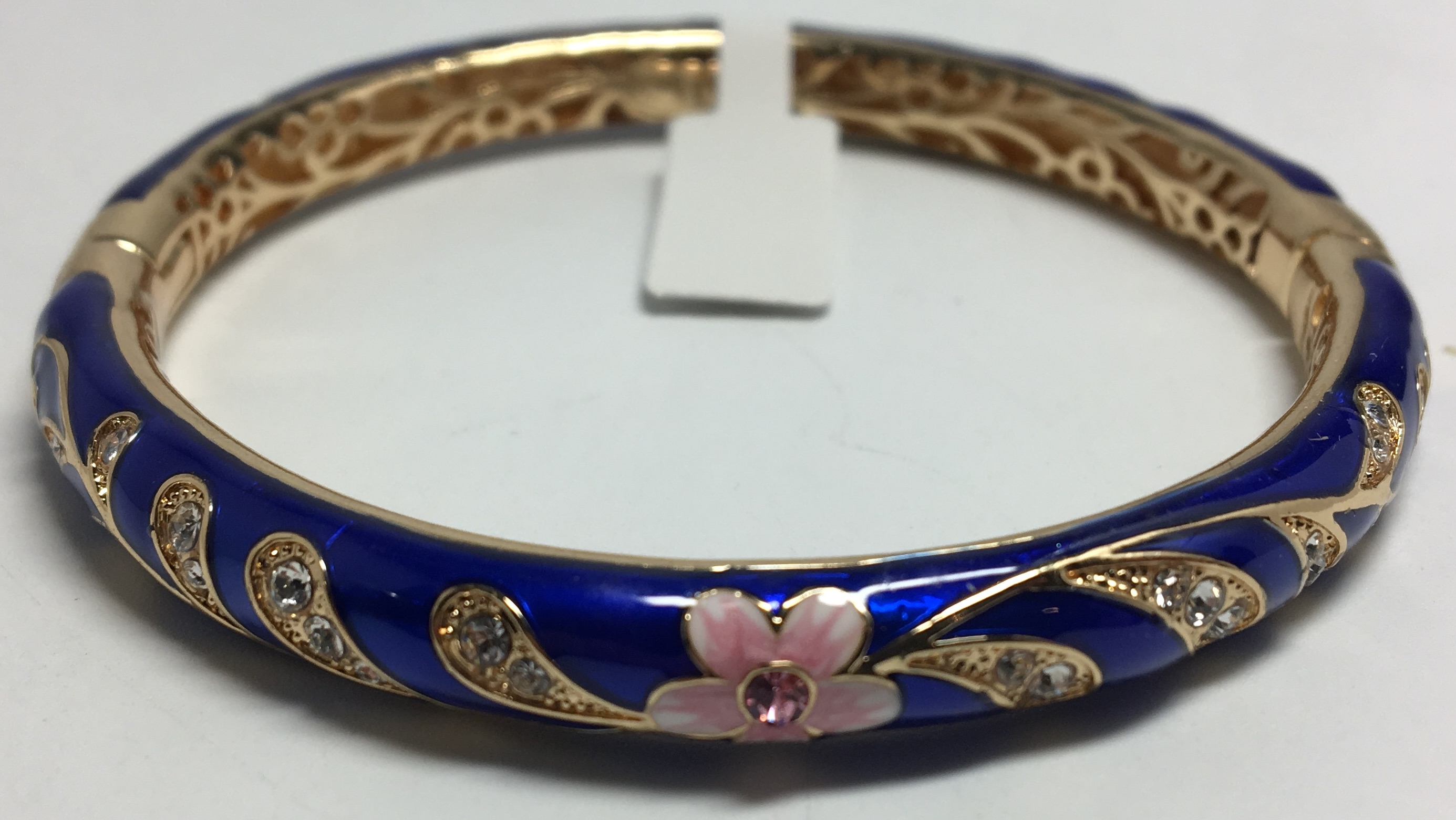 Pink Flower Blue Bracelet with Enamel (by AKM Gifts)