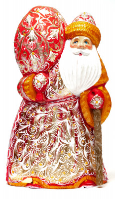 200 mm Santa Claus with a Large Bag of Christmas Gifts on his shoulder and in a Floral Brocade Coat Carved wooden figure, hand-painted (by Igor Wood Carving Figures Studio)