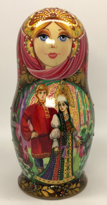 190 mm The Stone Flower fairy tale hand painted on Wooden Matryoshka doll 5 pcs (by Natalia crafts)