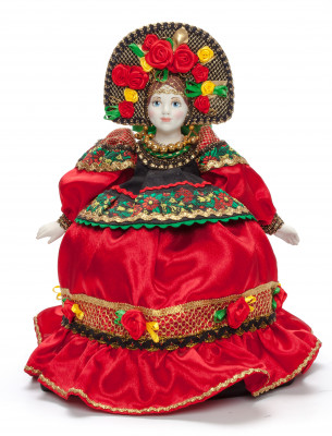 Russian Girl in a Red Dress Kettle Porcelain Doll Warmer - 16 Inches
