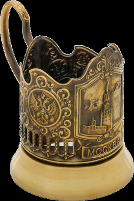 Spasskaya Tower of Moscow Kremlin Pure Brass Tea Glass Holder with Faceted Glass (by Kolchugino)
