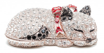 70 mm Cat with the Rhinestones Silver Jewellery Box