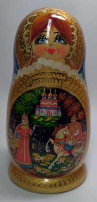 180 mm Ruslan and Lyudmila Fairytale handpainted Wooden Matryoshka Doll 5 pcs (by Valery Crafts)