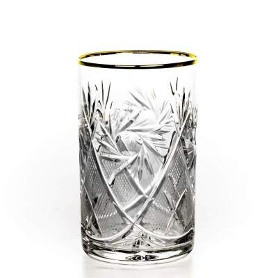 24K Gold Rimmed Cut Crystal Tea Glass