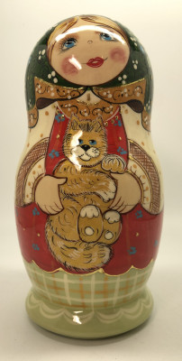 170 mm Russian Girl in Traditional Dress plays with Kitten hand painted wooden Matryoshka doll 5 pcs (by A Studio)