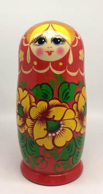 Russian Flowers Hand Painted Matryoshka Doll 5pcs