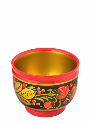 60x80 mm Khokhloma hand painted wooden Cup (by Golden Khokhloma)