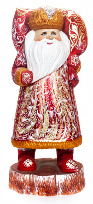 340 mm Santa Claus with a Bag and a Magic Staff handpainted Wooden Carved Statue (by Igor Carved Wooden Figures Studio)