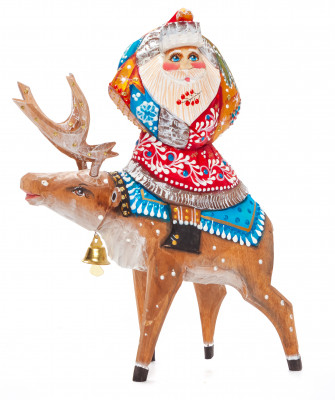 180 mm Santa with a Bag riding the Deer Carved Wood Hand Painted Collectible Figurine (by Natalia Nikitina Workshop)