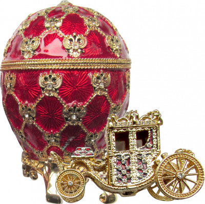 95 mm Imperial Coach and Red Imperial Coronation Easter Egg