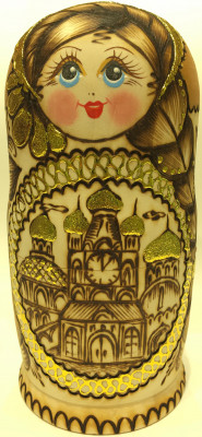 170 mm Moscow Cathedrals hand burnt and painted Wooden Matryoshka doll 5 pcs (by Julia Studio)