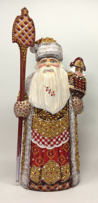 260 mm Santa Claus hand carved and painted wooden figure with a Nutcraker (by Natalia Workshop)