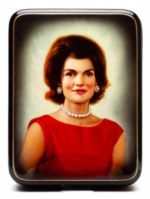 120x90mm Jacqueline Kennedy Portrait Hand Painted Jewellery Box (by Alexander G Studio)