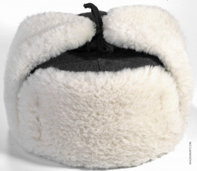 White Mouton & Wool Ushanka Winter Hat (by Golden Fleece)