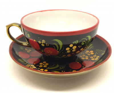 Khokhloma hand painted tea Cup with plate (by Samovarov)