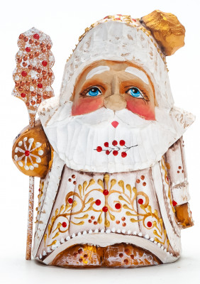 110 mm Santa with a Magic Staff Carved Wood Hand Painted Collectible Figurine (by Igor Carved Wooden Figures Studio)