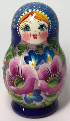 100 mm Maidan Patterns hand painted Wooden Matryoshka Doll 5 pcs (by Mihail Matryoshka Studio)