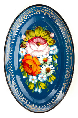 165x255 mm Zhostovo Patterns hand painted and lacquered Metal Forged Blue Tray (by Lada Crafts)