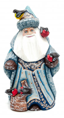150 mm Santa Claus with Bullfinches hand painted wooden statue (by Sergey Christmas Workshop)