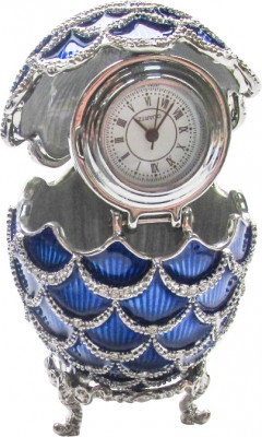 57 mm Dark Blue Pine Cone with Clock inside Easter Egg