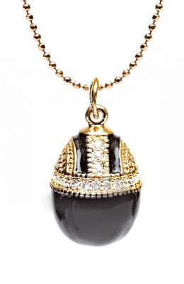 Water Drop with Rhinestones Black Egg Pendant