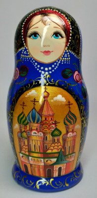 155 mm Moscow Snt Basil Cathedral hand painted on wooden Matryoshka doll 5 pcs (by A Studio)