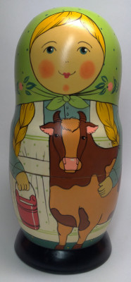 230mm Mistress with Cow hand painted Traditional Russian Wooden Matryoshka doll 7 pcs (by Igor Malyutin)