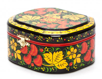 Khokhloma Painting Jewellery Wooden Box 120x100 mm