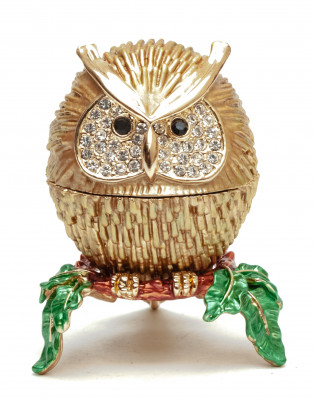 50 mm Small Owl Brown Jewellery Box