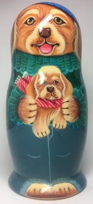 145 mm Brown Father Dog plays with Puppies handpainted Wooden Matryoshka Doll 5 pcs (by Vasily Crafts)