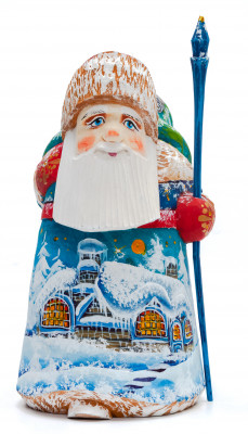 160 mm Santa Claus with a Staff And a Bag of Gifts (by Igor Carved Wooden Figures Studio)