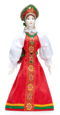 270 mm Russian Girl Doll in a Traditional Dress Porcelain Statue (by Le Russe)