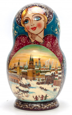 240 mm Moscow Kremlin handpainted Wooden Matryoshka round Doll 10 pcs (by Valery Crafts)